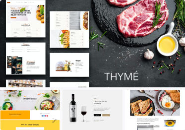 Set of 4 images displaying Food & Drink Template Kits.